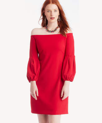Vince Camuto Women's Off Shoulder Bubble Sleeve Crepe Ponte Dress In Color: True Crimson Size Medium From Sole Society
