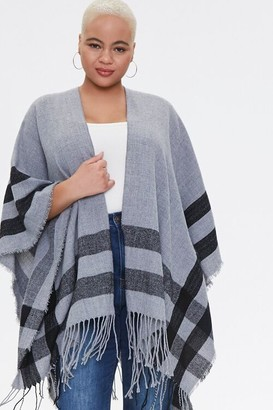 Forever 21 Plus Size Striped Fringe Poncho