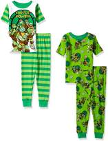 Nickelodeon Boys' Little Teenage Mutant Ninja Turtles 4-Piece Cotton Pajama Set, White/Green