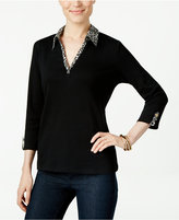Karen Scott Printed-Trim Top, Only at Macy's
