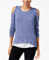 Bar III Heathered Cold-Shoulder Knit Top, Only at Macy's