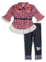 Little Lass Little Girl's Plaid Tunic and Leggings Set