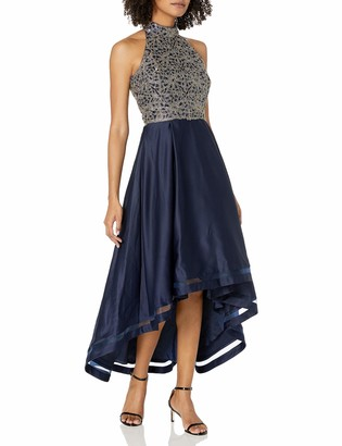Nicole Miller Women's Halter Neck Fit and Flare High-Low Sequin Embroidered Dress