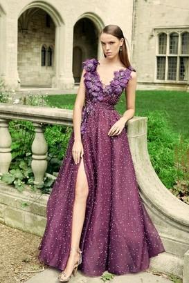 Marchesa Plunging V Neckline Silk Organza Ball Gown