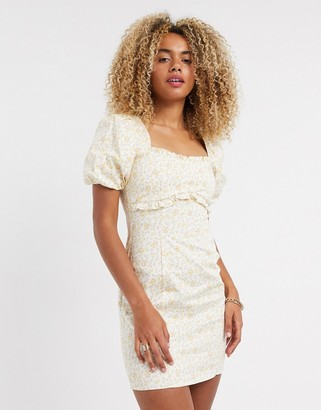 Topshop mini dress with puff sleeves in ditsy print