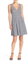 Betsey Johnson Gingham Stretch Cotton Fit & Flare Dress
