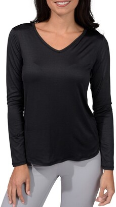 90 Degree By Reflex Heather Long Sleeve V-Neck T-Shirt