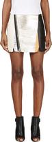 3.1 Phillip Lim Gold Lambskin Biker Skirt