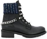 Karl Lagerfeld tweed detail combat boots