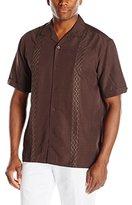 Cubavera Men's Short Sleeve Grided Embroidery Panel Woven Shirt