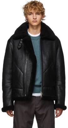 Acne Studios Black Suede Shearling Jacket