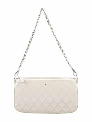 Chanel CC Quilted Pochette w/ Chain Strap silver