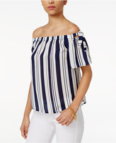 Lily Black Juniors' Striped Off-The-Shoulder Top, Only at Macy's