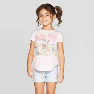 Mickey Mouse & Friends Toddler Girls' Mickey and Friends Good Vibes Short Sleeve T-Shirt - Light Pink