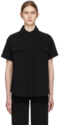 MM6 MAISON MARGIELA Black Towelling Two Pocket Short Sleeve Shirt