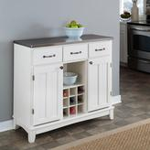 Home Styles Three-Drawer 41.75 in. W White Buffet with Stainless Top
