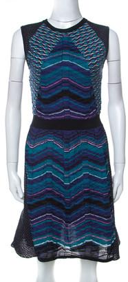 M Missoni Multicolor Paneled Knit Cap Sleeve Short Dress M