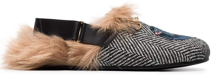 Gucci Fur herringbone slippers with wolf head