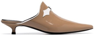 BEIGE Dorateymur crucified 30 patent leather mules