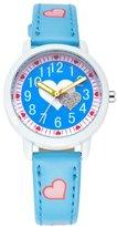 Guirui Watch Cute Cartoon Children Girls Love Heart Leather Strap Easy Reader Quartz Wrist Watch