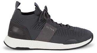 HUGO BOSS Textured Lace-Up Sneakers