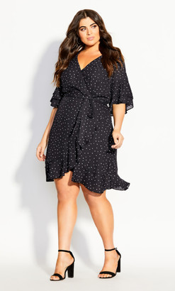 City Chic Charmed Spot Dress - black