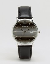 Sekonda Black Leather Watch With Silver Dial Exclusive To Asos