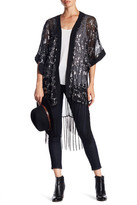 Cejon Sheer Sequin Fringe Ruana Kimono