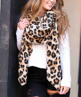 BEIGE Aili's Corner Women's Accent Scarves Brown Leopard Blanket Scarf - Women