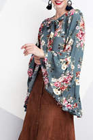 Easel Floral Bell Sleeve Blouse