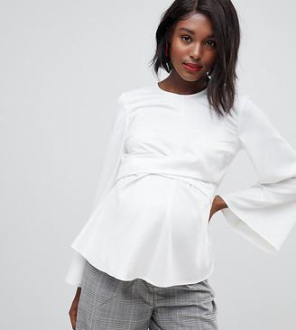 Asos DESIGN Maternity long sleeve top with tie front and bell sleeve-White