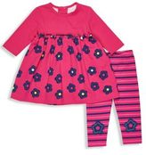 Florence Eiseman Baby's Two-Piece Knitted Dress and Patterned Leggings Set