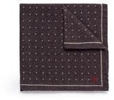 Isaia Polka dot print wool-silk pocket square