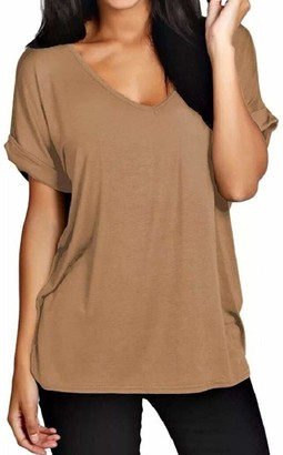 Candid Styles Women Baggy Oversized Loose Fit Turn up Batwing Sleeve Ladies V Neck Top T Shirt M/L 12-14