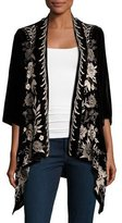 Johnny Was Nova Floral-Embroidered Draped Velvet Cardigan, Plus Size
