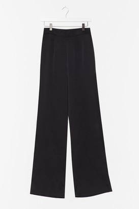 Nasty Gal Womens Big Night Ahead Satin Wide-Leg Pants - Black