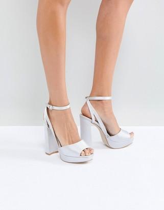 Be Mine Bridal Katia Gray Satin Platform Heeled Sandals