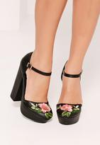 Missguided Embroided Ankle Strap Platform Sandals Black