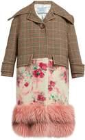 Prada Fur-hem contrast-panel coat