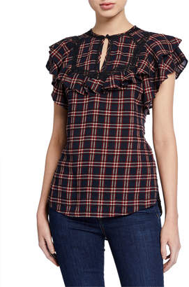 Veronica Beard Hawn Yoked Short-Sleeve Ruffle Blouse