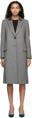 Alexander McQueen Grey Wool Velvet Collar Coat