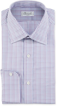 Charvet Men's Tonal Tattersall Plaid Cotton Dress Shirt