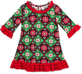 Rare Editions Christmas Geo-Print Dress, Toddler & Little Girls (2T-6X)