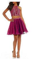 Ellie Wilde Scalloped Beaded Top Two-Piece Dress