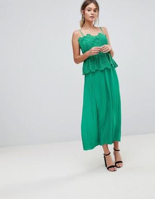 Liquorish Pleated Midi Slip Dress With Lace Detail
