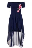 Quiz Navy Bardot Embroidered Dip Hem Dress