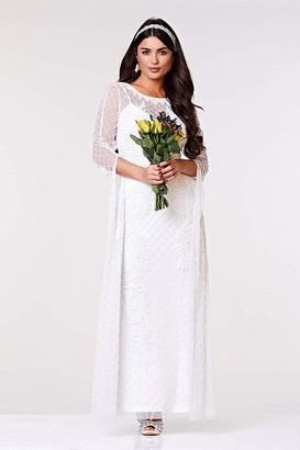 Gatsbylady London Eugine Long Sleeved Maxi Wedding Dress in White