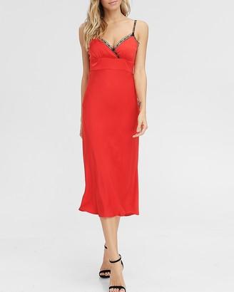 Express Emory Park Lace Strap V-Neck Slip Dress