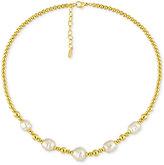 Majorica Gold-Tone Baroque Imitation Pearl Collar Necklace