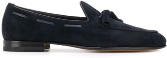 Santoni Textured Pointed Toe Loafers